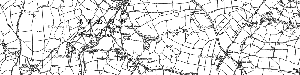 Old map of Atlow in 1880