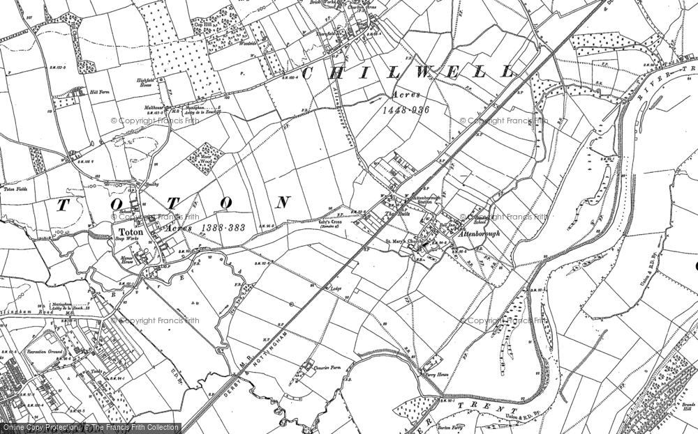 Old Map of Attenborough, 1899 in 1899