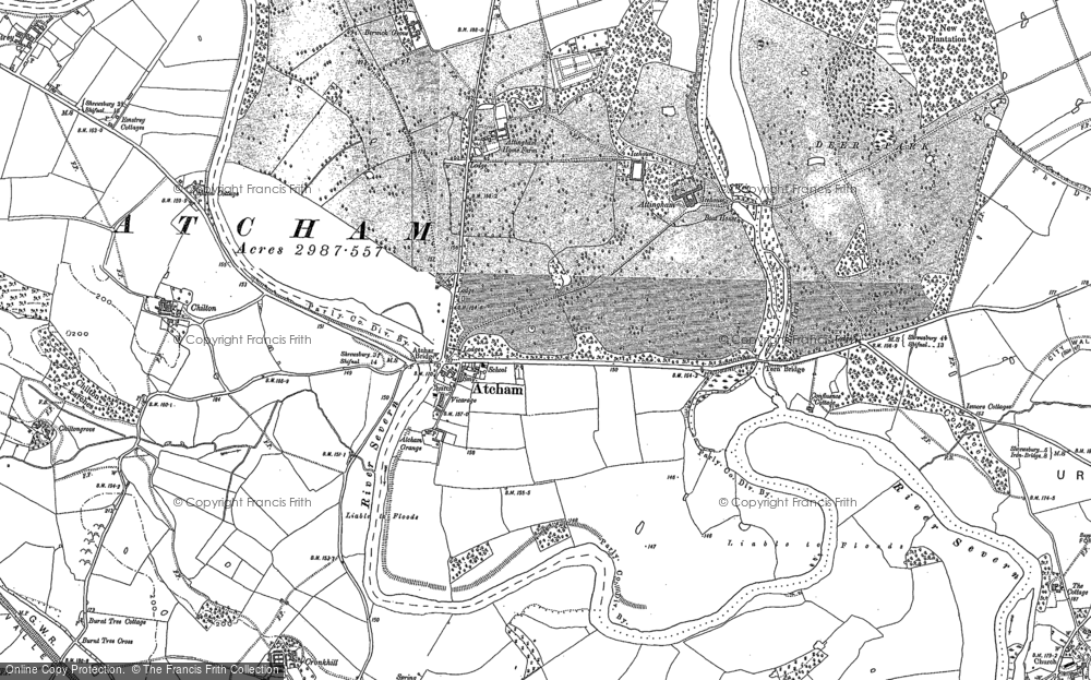 Old Map of Attingham, 1881 in 1881