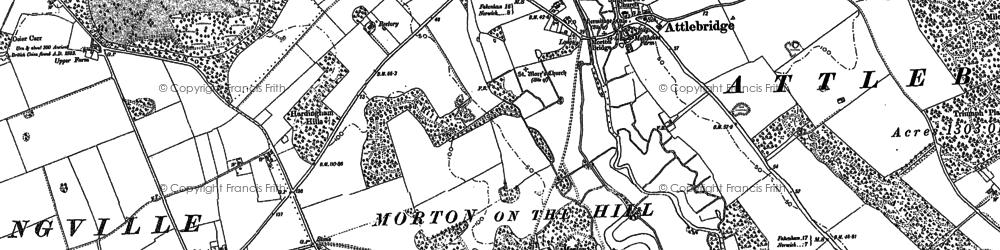 Old map of Attlebridge Hills in 1882
