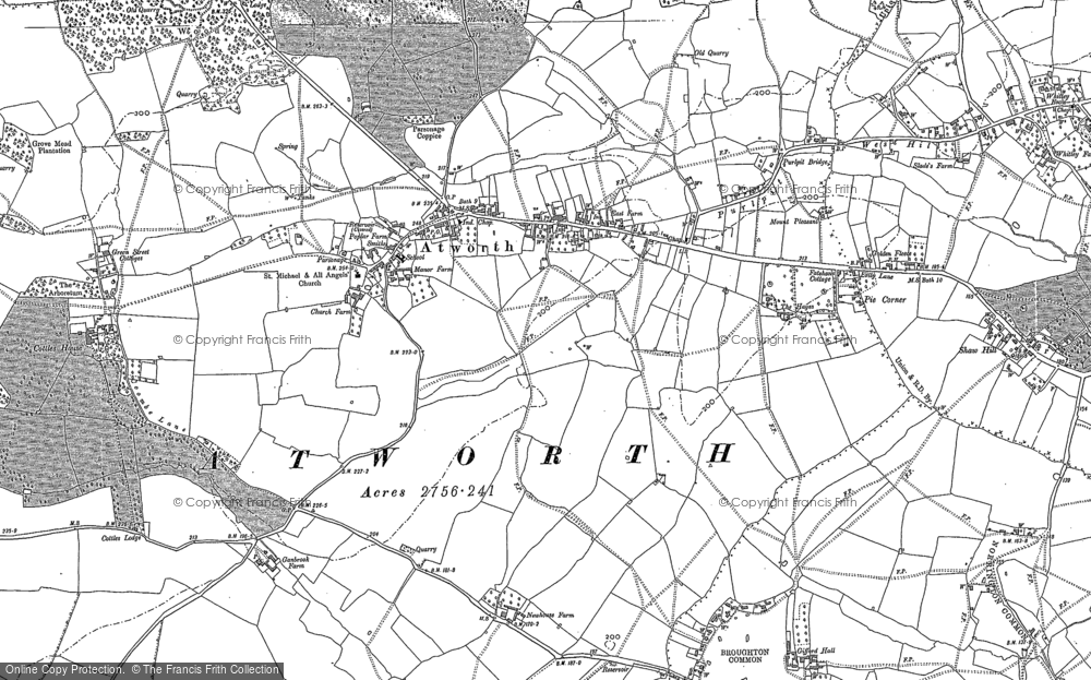 Old Map of Atworth, 1919 - 1922 in 1919