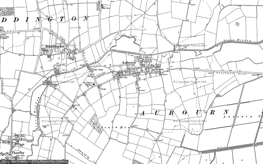Old Map of Aubourn, 1886 - 1904 in 1886