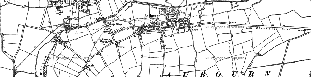 Old map of Aubourn in 1886