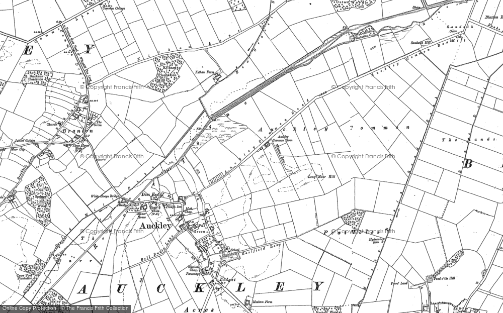 Old Map of Historic Map covering Auckley Common in 1891