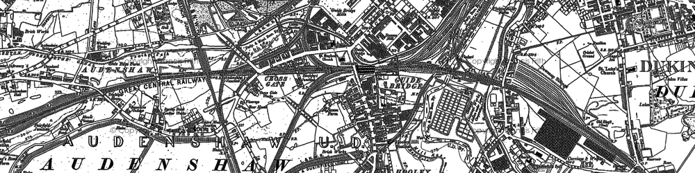 Old map of Audenshaw Resrs in 1906