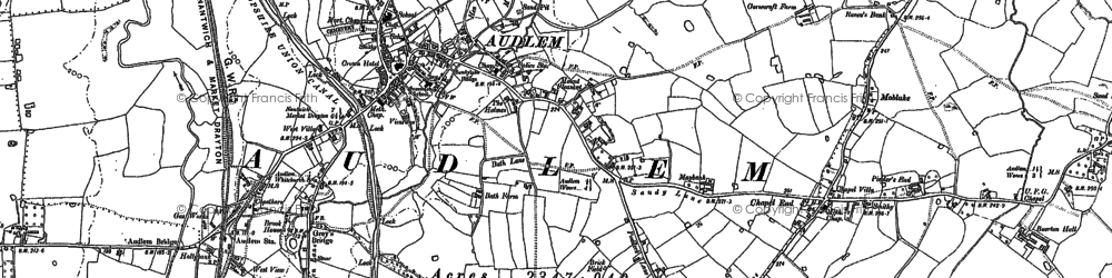 Old map of Audlem in 1899