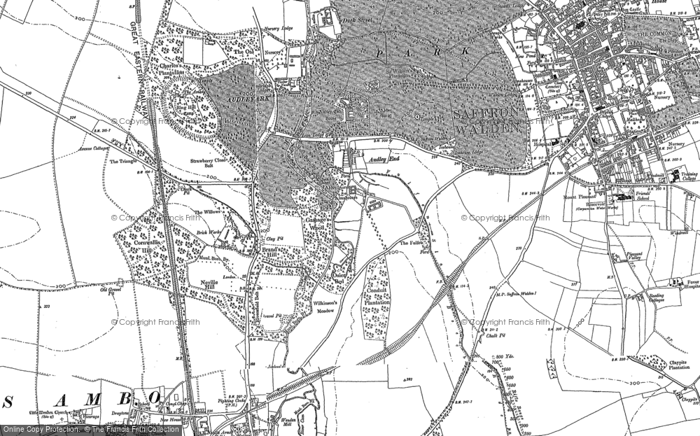 Old Map of Audley End, 1896 in 1896
