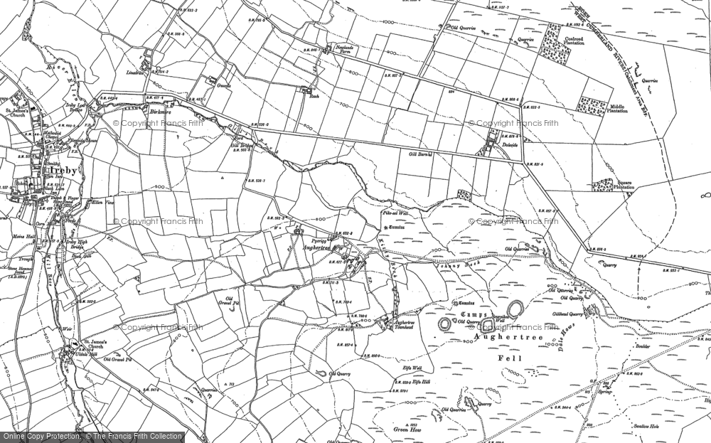 Old Map of Historic Map covering Aughertree Fell in 1899