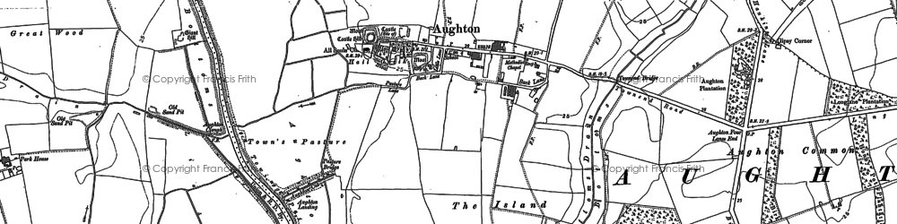 Old map of Aughton in 1889