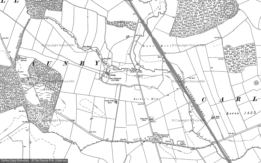 Old Map of Aunby, 1886 - 1903 in 1886