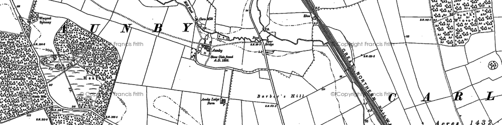 Old map of Aunby in 1886