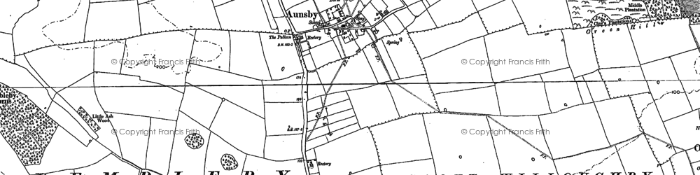Old map of Aunsby in 1887