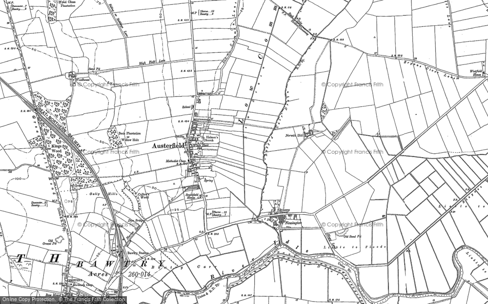 Old Map of Austerfield, 1901 in 1901