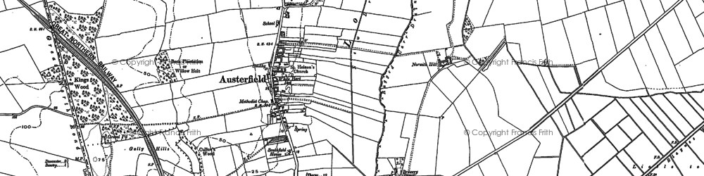 Old map of Austerfield in 1901