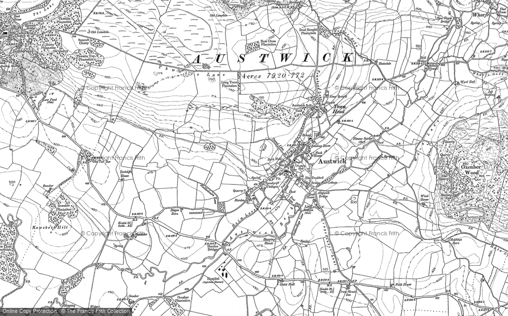 Old Map of Historic Map covering Lane Side in 1907