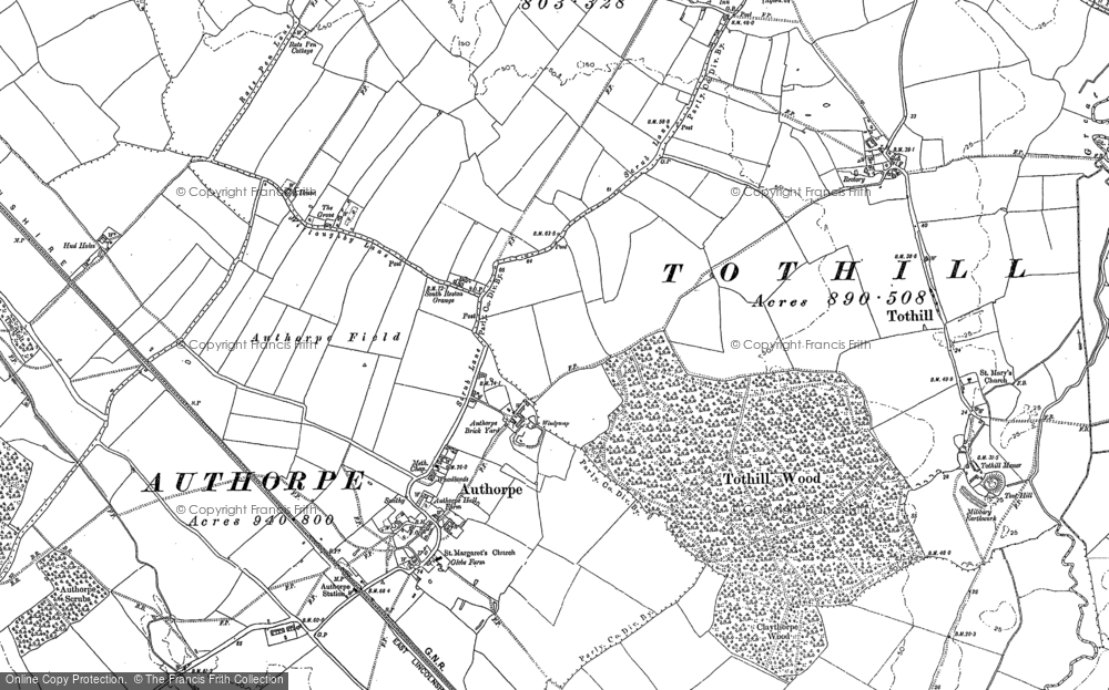 Old Map of Historic Map covering Authorpe Grange in 1887