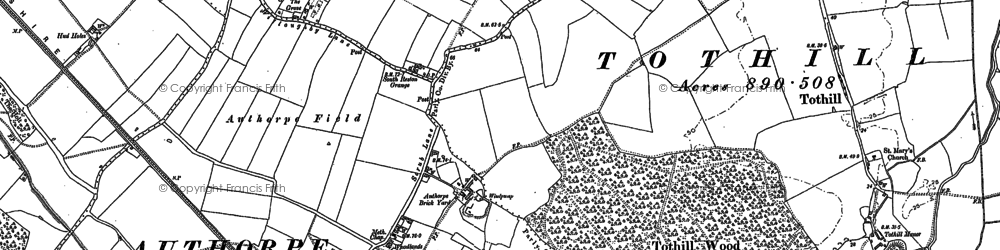 Old map of Authorpe Grange in 1887