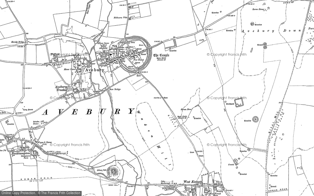 Old Map of Historic Map covering Avebury Down in 1899