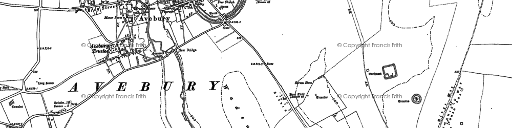 Old map of Avebury in 1899