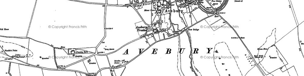 Old map of Avebury Trusloe in 1899
