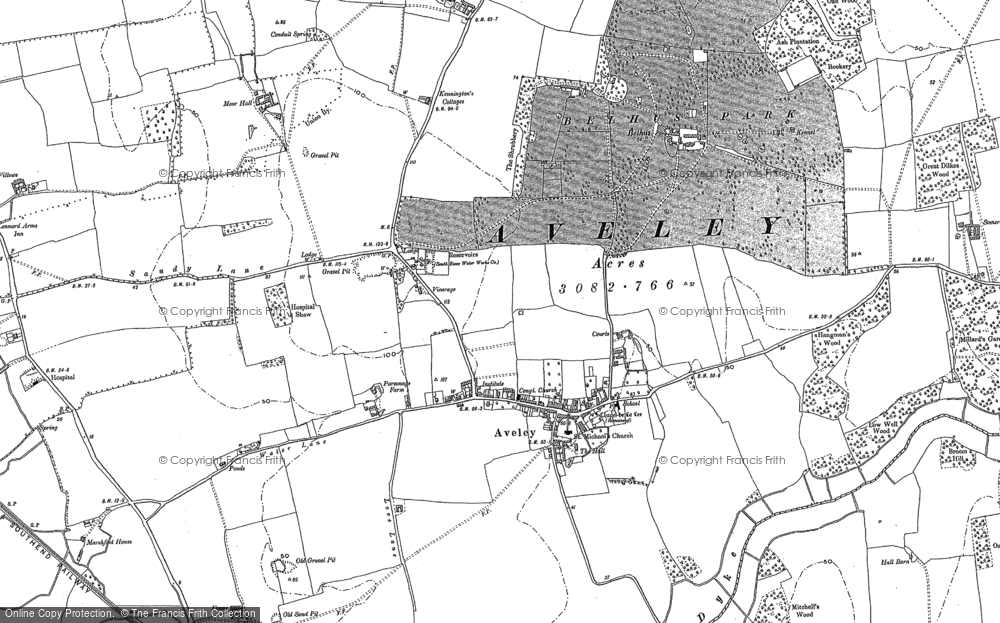 Old Map of Aveley, 1895 in 1895