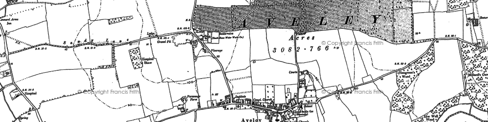 Old map of Aveley in 1895