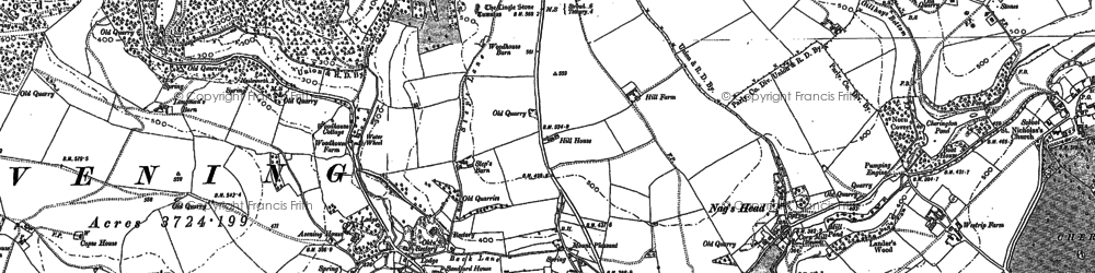 Old map of Avening in 1882