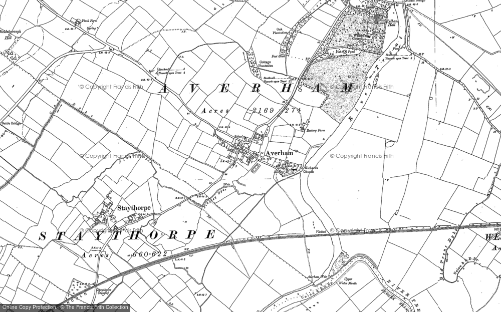 Old Map of Historic Map covering Averham Park in 1884