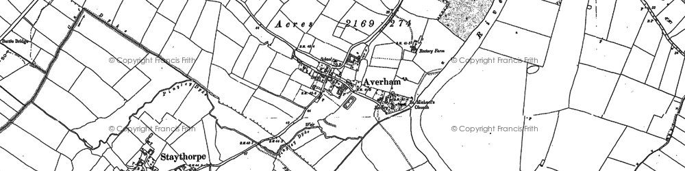 Old map of Averham in 1884