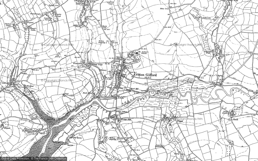 Old Map of Aveton Gifford, 1884 - 1905 in 1884