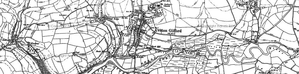 Old map of Aveton Gifford in 1884
