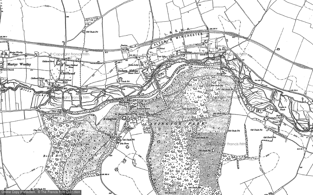 Old Map of Historic Map covering Avington Park in 1895
