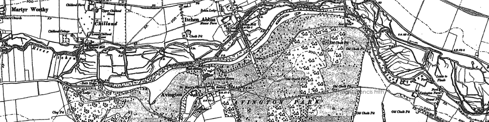 Old map of Avington in 1895