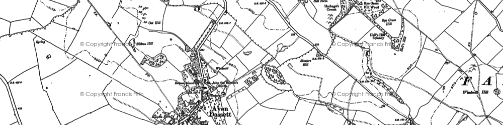 Old map of Avon Dassett in 1885