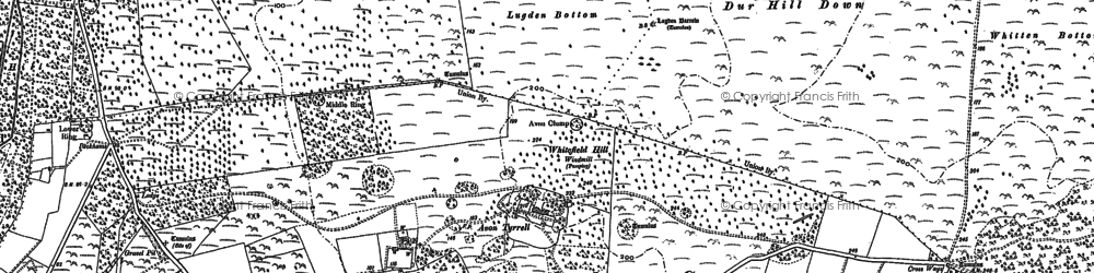 Old map of Avon Tyrrell in 1896