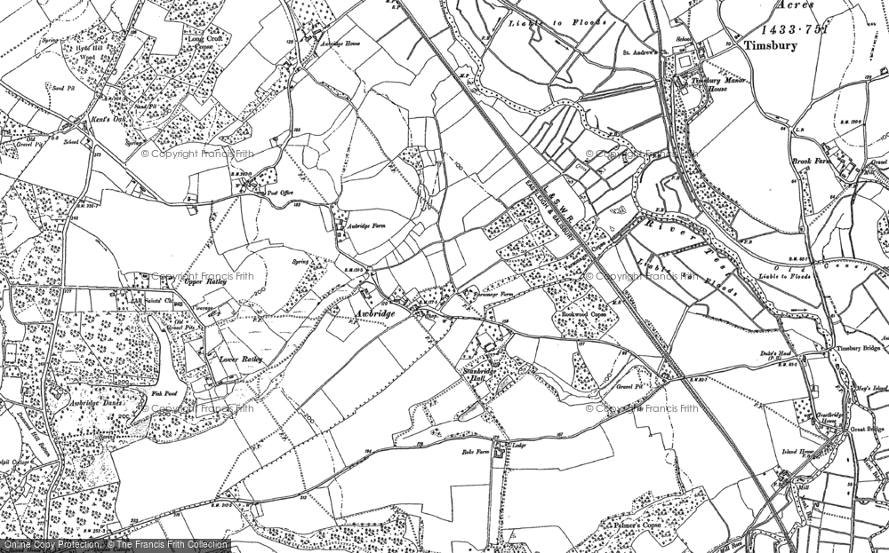 Old Map of Historic Map covering Awbridge Ho in 1895