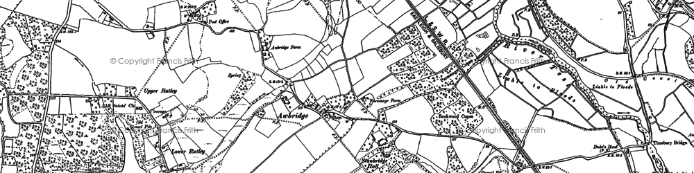 Old map of Awbridge in 1895