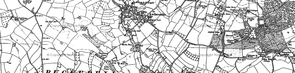 Old map of Awliscombe in 1887