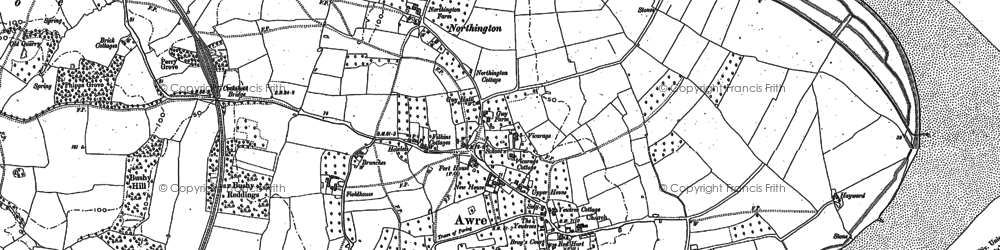 Old map of Awre in 1879