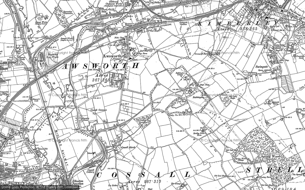 Map of Awsworth, 1899