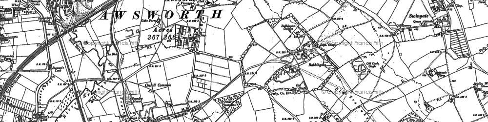 Old map of Awsworth in 1899