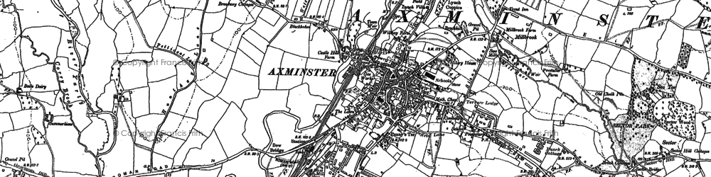 Old map of Axminster in 1903