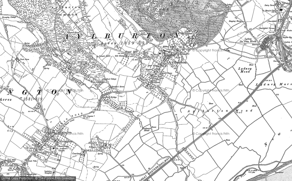 Old Map of Historic Map covering Aylburton Common in 1880