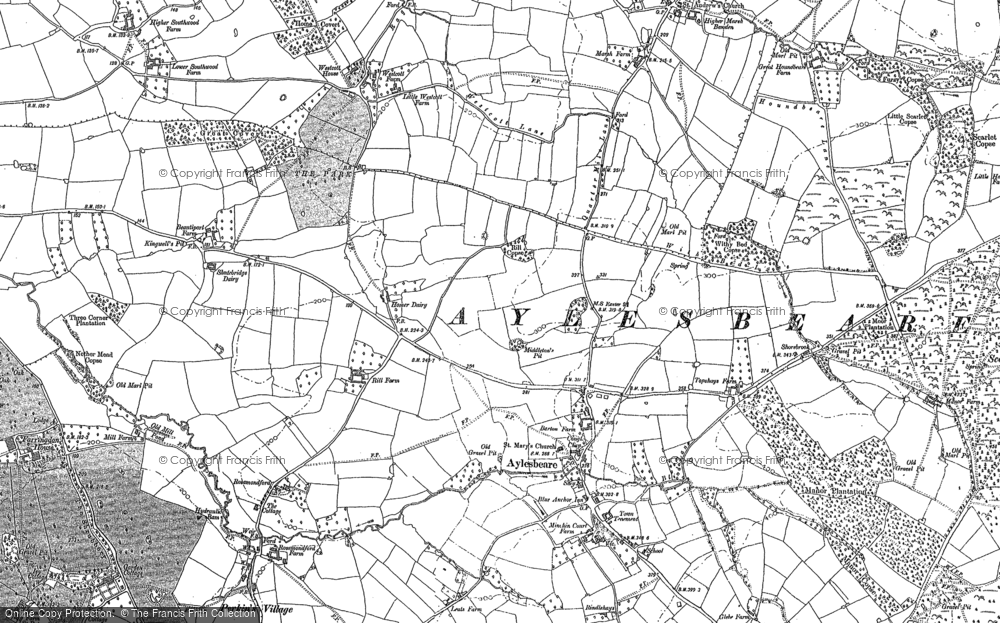 Old Map of Historic Map covering Aylesbeare Common in 1888