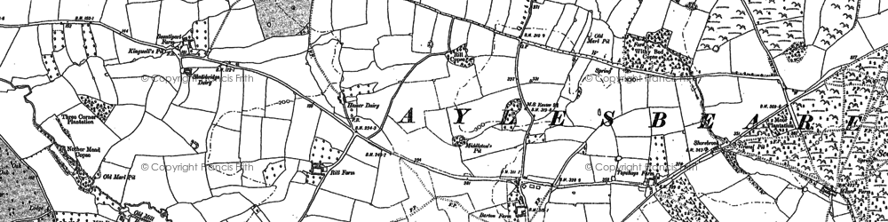 Old map of Aylesbeare in 1888