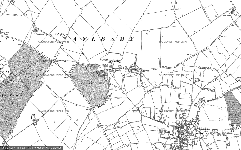 Old Map of Aylesby, 1886 - 1887 in 1886