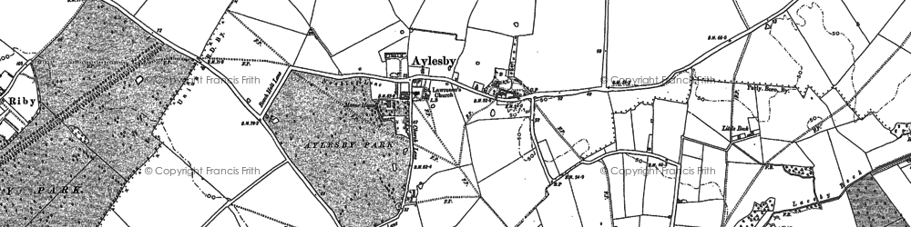 Old map of Aylesby in 1886