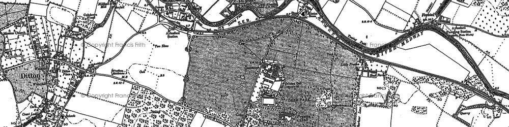 Old map of Aylesford in 1895