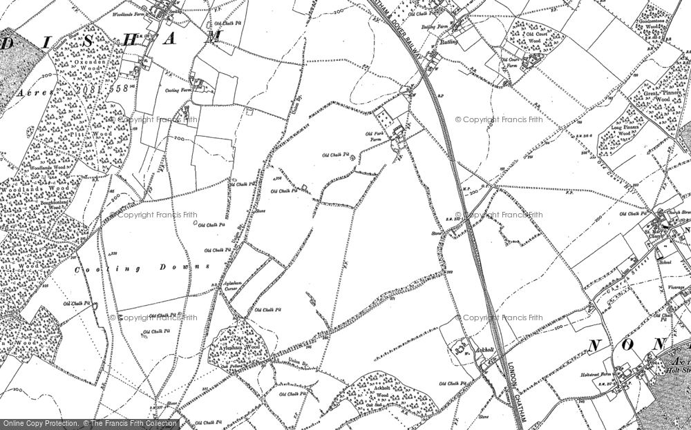 Old Map of Historic Map covering Adisham in 1896