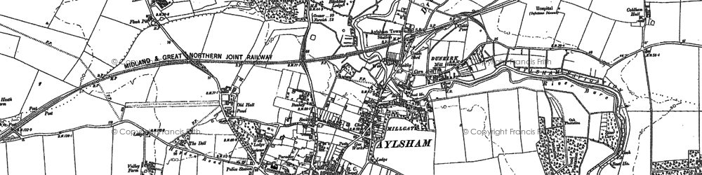 Old map of Aylsham in 1885